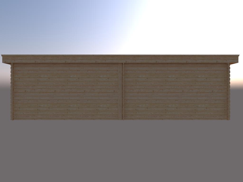 DWF Blokhut met overkapping plat dak 400 x 200 + 100 / 400 x 300cm
