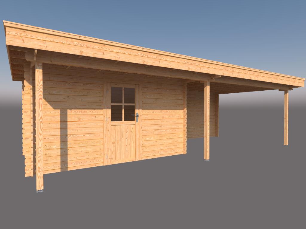 DWF Blokhut met overkapping plat dak 400 x 250 + 100 / 400 x 350cm