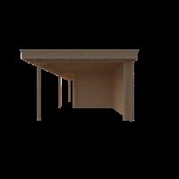 DWF Blokhut met overkapping plat dak 400 x 250 + 100 / 300 x 350cm