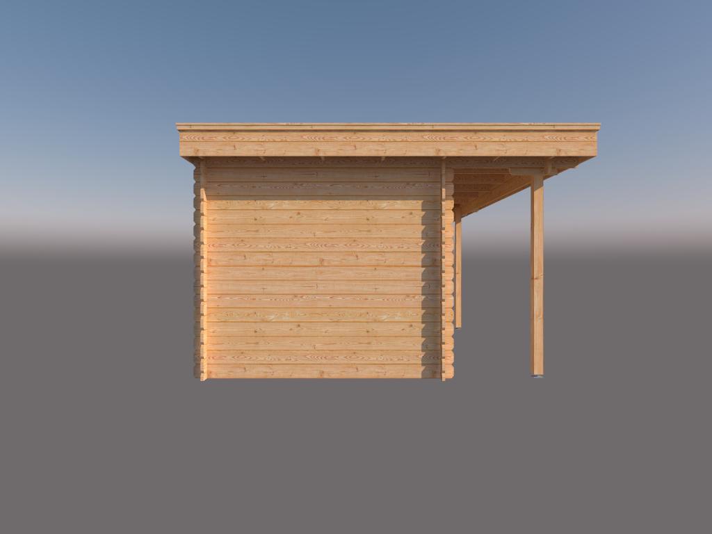 DWF Blokhut met overkapping plat dak 400 x 250 + 100 / 250 x 350cm