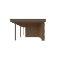 DWF Blokhut met overkapping plat dak 350 x 250 + 100 / 250 x 350cm