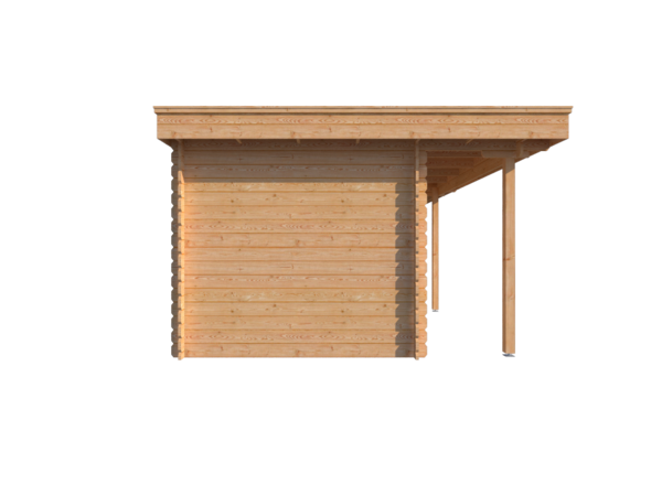DWF Blokhut met overkapping plat dak 350 x 250 + 100 / 350 x 350cm