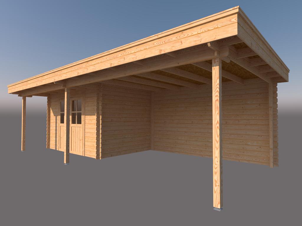 DWF Blokhut met overkapping plat dak 350 x 250 + 100 / 400 x 350cm