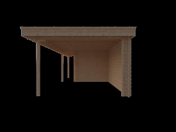 DWF Blokhut met overkapping plat dak 300 x 250 + 100 / 400 x 350cm