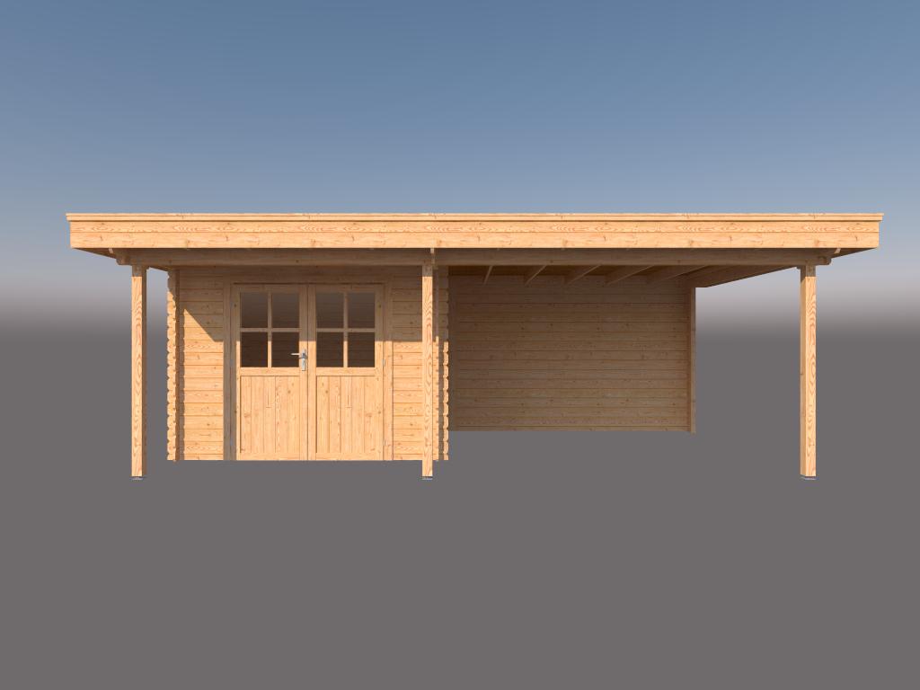 DWF Blokhut met overkapping plat dak 300 x 250 + 100 / 350 x 350cm