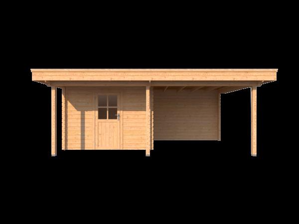 DWF Blokhut met overkapping plat dak 300 x 250 + 100 / 300 x 350cm