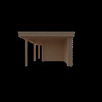 DWF Blokhut met overkapping plat dak 300 x 250 + 100 / 250 x 350cm