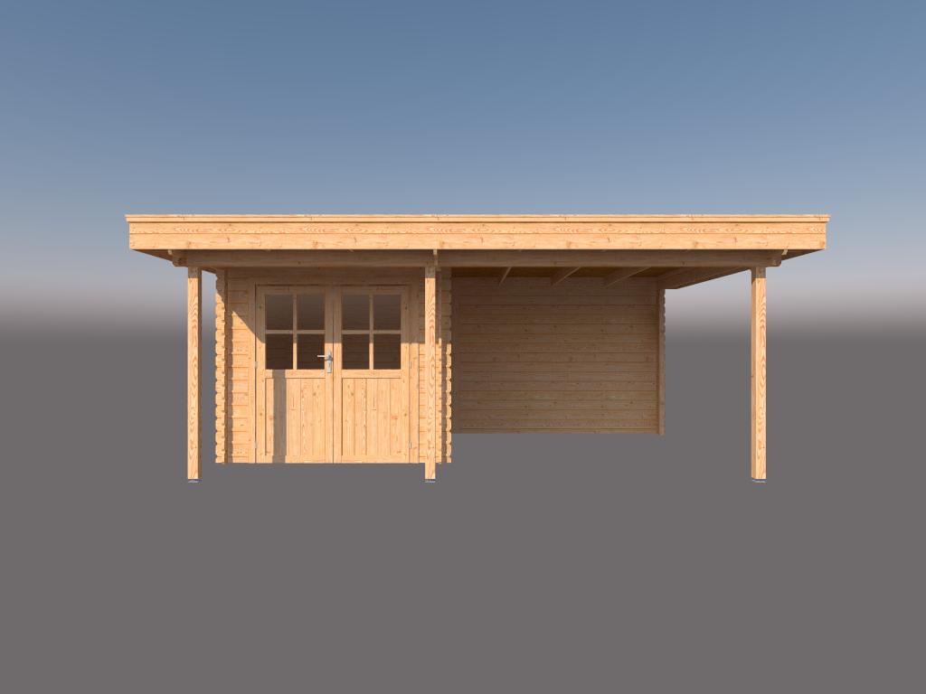 DWF Blokhut met overkapping plat dak 250 x 250 + 100 / 300 x 350cm
