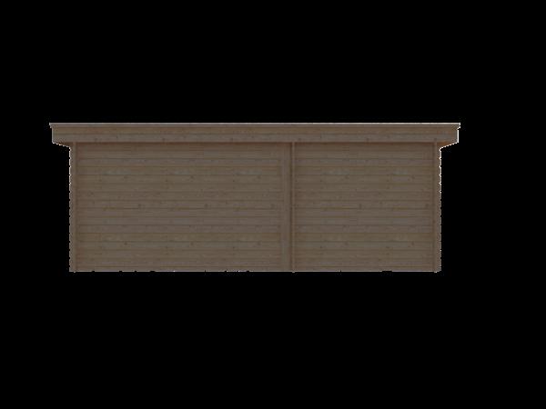 DWF Blokhut met overkapping plat dak 250 x 250 + 100 / 350 x 350cm