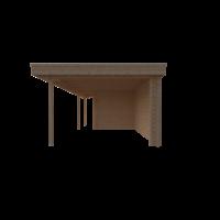 DWF Blokhut met overkapping plat dak 250 x 250 + 100 / 400 x 350cm