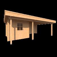 DWF Blokhut met overkapping plat dak 250 x 300 + 100 / 400 x 400cm