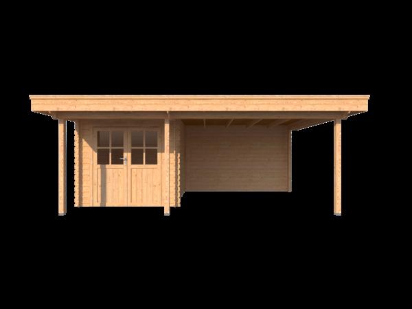 DWF Blokhut met overkapping plat dak 250 x 300 + 100 / 350 x 400cm