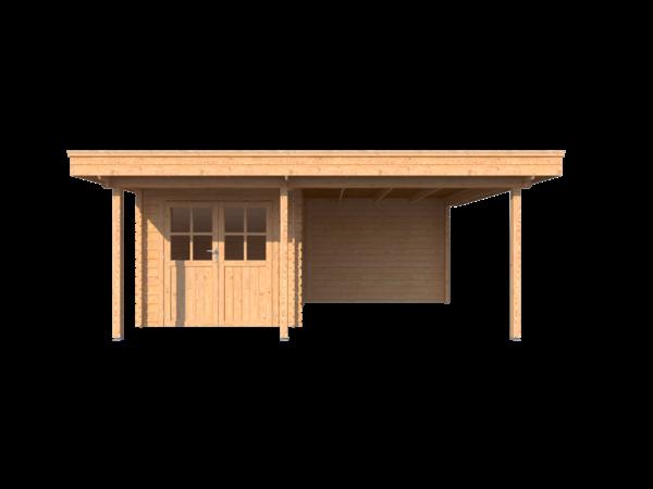 DWF Blokhut met overkapping plat dak 250 x 300 + 100 / 300 x 400cm