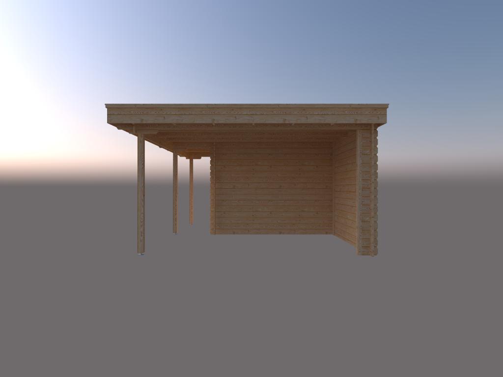 DWF Blokhut met overkapping plat dak 250 x 300 + 100 / 250 x 400cm