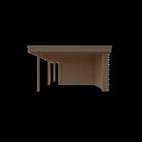DWF Blokhut met overkapping plat dak 300 x 300 + 100 / 250 x 400cm