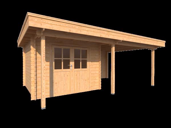 DWF Blokhut met overkapping plat dak 300 x 300 + 100 / 300 x 400cm