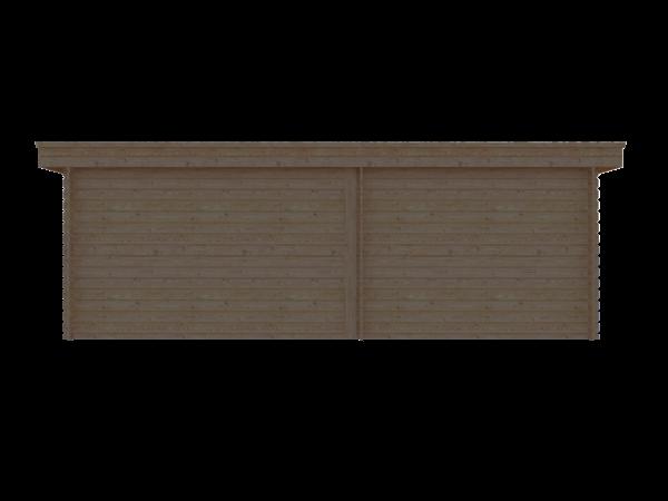 DWF Blokhut met overkapping plat dak 300 x 300 + 100 / 350 x 400cm