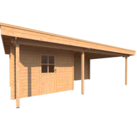 DWF Blokhut met overkapping plat dak 300 x 300 + 100 / 400 x 400cm