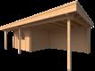 DWF Blokhut met overkapping plat dak 350 x 300 + 100 / 400 x 400cm