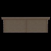 DWF Blokhut met overkapping plat dak 350 x 300 + 100 / 350 x 400cm