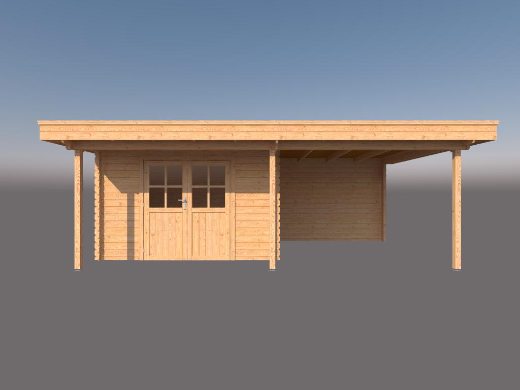 DWF Blokhut met overkapping plat dak 350 x 300 + 100 / 300 x 400cm