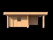 DWF Blokhut met overkapping plat dak 350 x 300 + 100 / 250 x 400cm