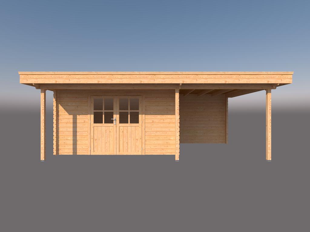DWF Blokhut met overkapping plat dak 400 x 300 + 100 / 250 x 400cm