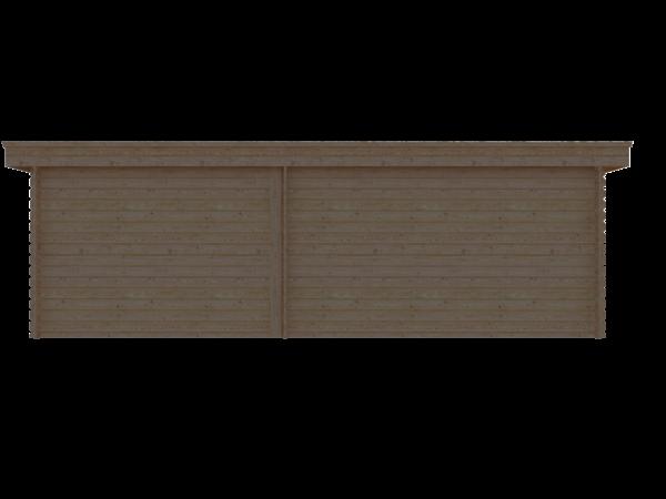 DWF Blokhut met overkapping plat dak 400 x 300 + 100 / 300 x 400cm