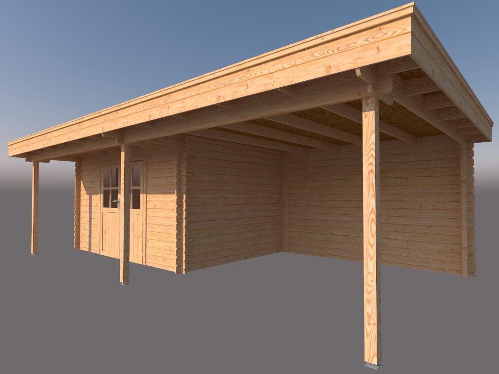 DWF Blokhut met overkapping plat dak 400 x 300 + 100 / 350 x 400cm
