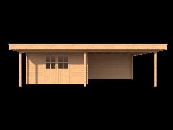 DWF Blokhut met overkapping plat dak 400 x 300 + 100 / 400 x 400cm