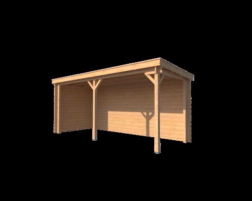 DWF Houten overkapping lessenaars dak 500 x 200cm