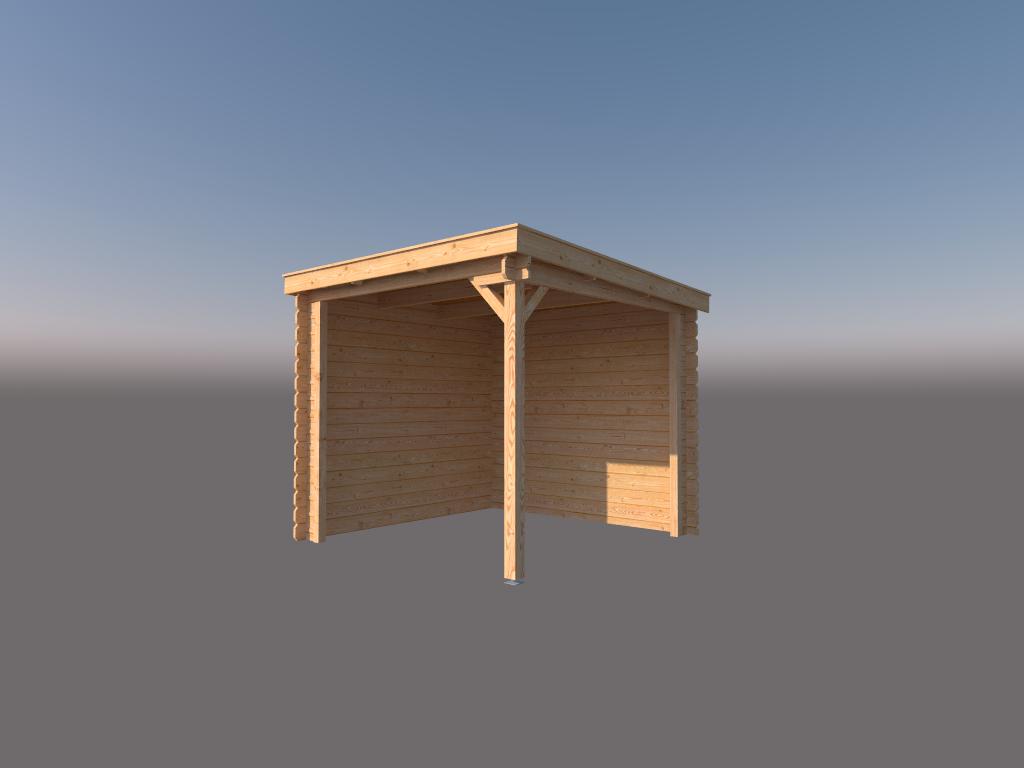 DWF Houten overkapping lessenaars dak 250 x 250cm