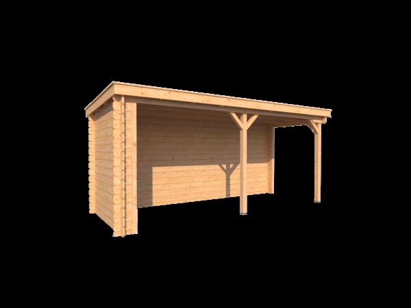 DWF Houten overkapping lessenaars dak 500 x 250cm