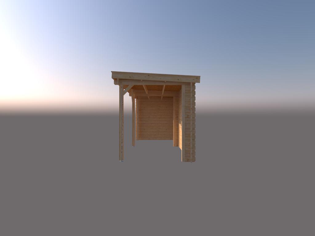 DWF Houten overkapping lessenaars dak 550 x 250cm