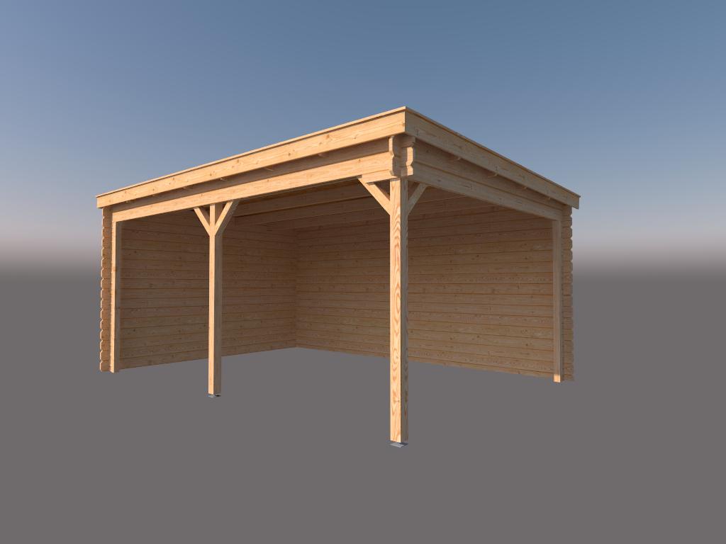 DWF Houten overkapping lessenaars dak 500 x 350cm
