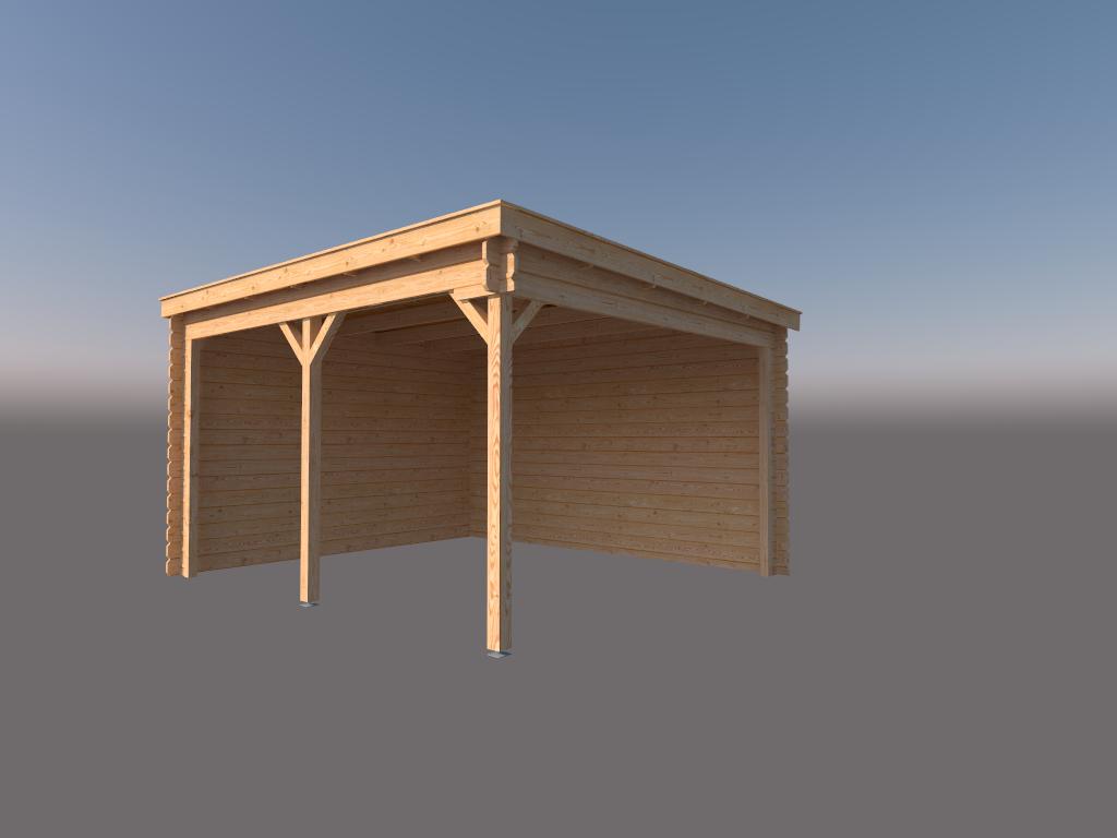 DWF Houten overkapping lessenaars dak 450 x 350cm