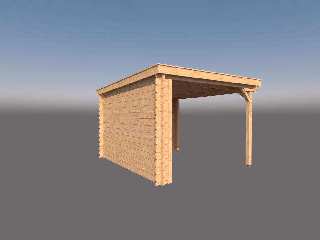 DWF Houten overkapping lessenaars dak 300 x 350cm