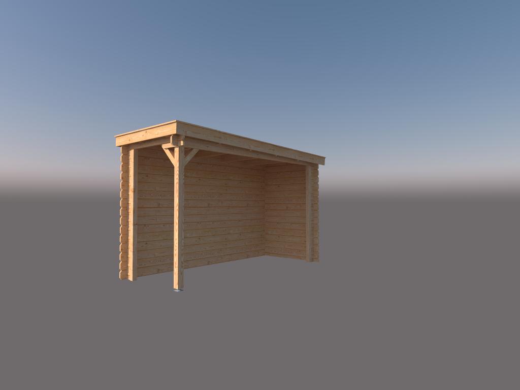DWF Houten overkapping lessenaars dak 150 x 350cm