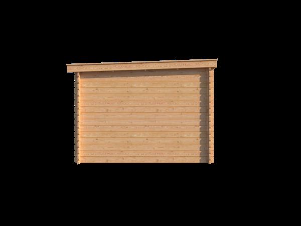 DWF Blokhut met overkapping lessenaar dak 400 x 300 + 250cm