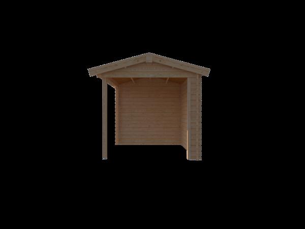 DWF Blokhut met overkapping zadeldak 350 x 250 + 250cm