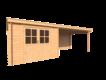 DWF Blokhut met overkapping lessenaar dak 300 x 300 + 400cm