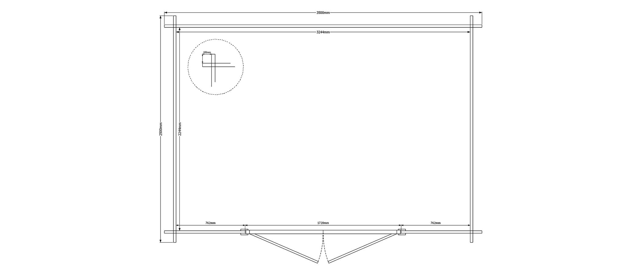 DWF Blokhut kapschuur 350 x 200cm