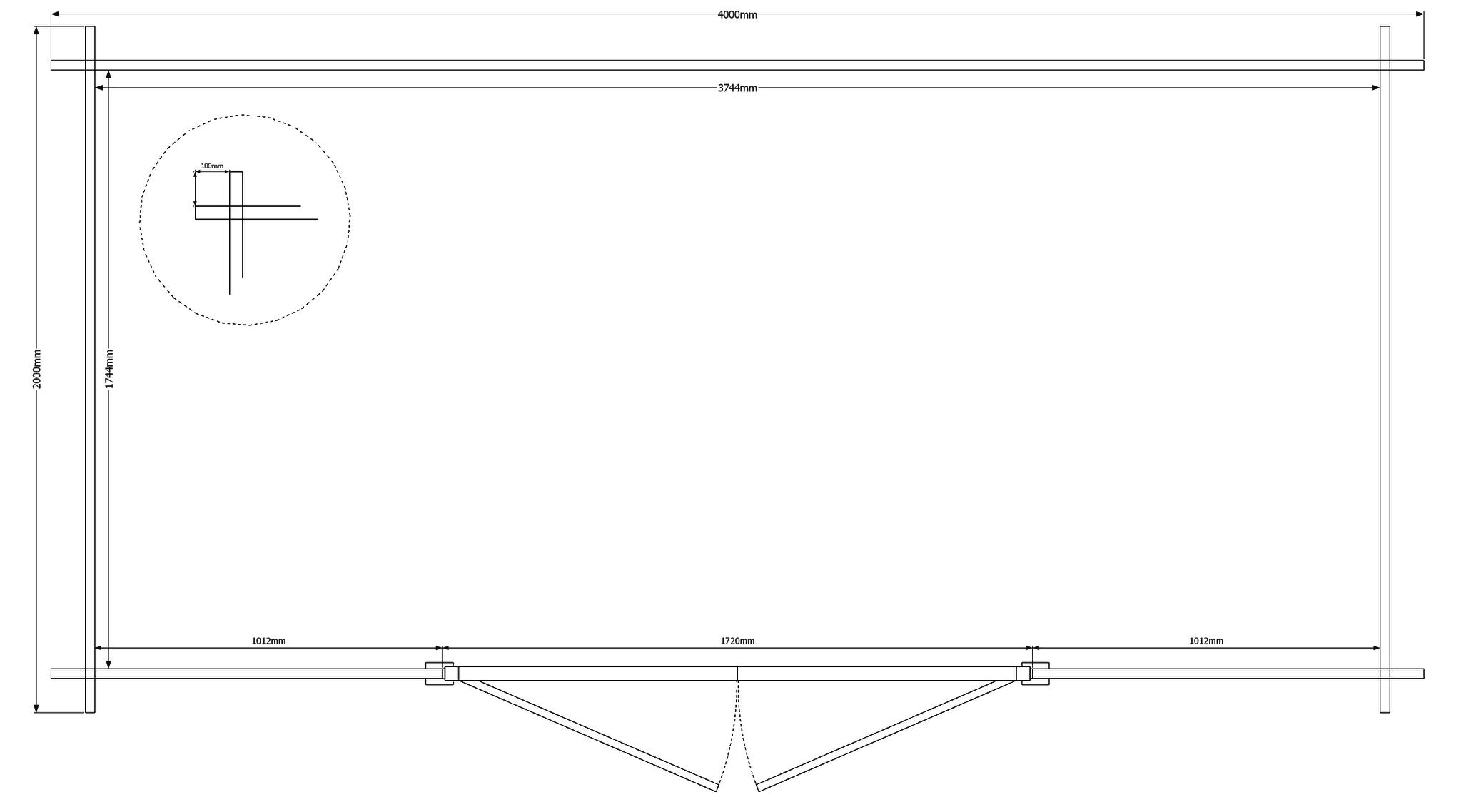 DWF Blokhut kapschuur 400 x 200cm