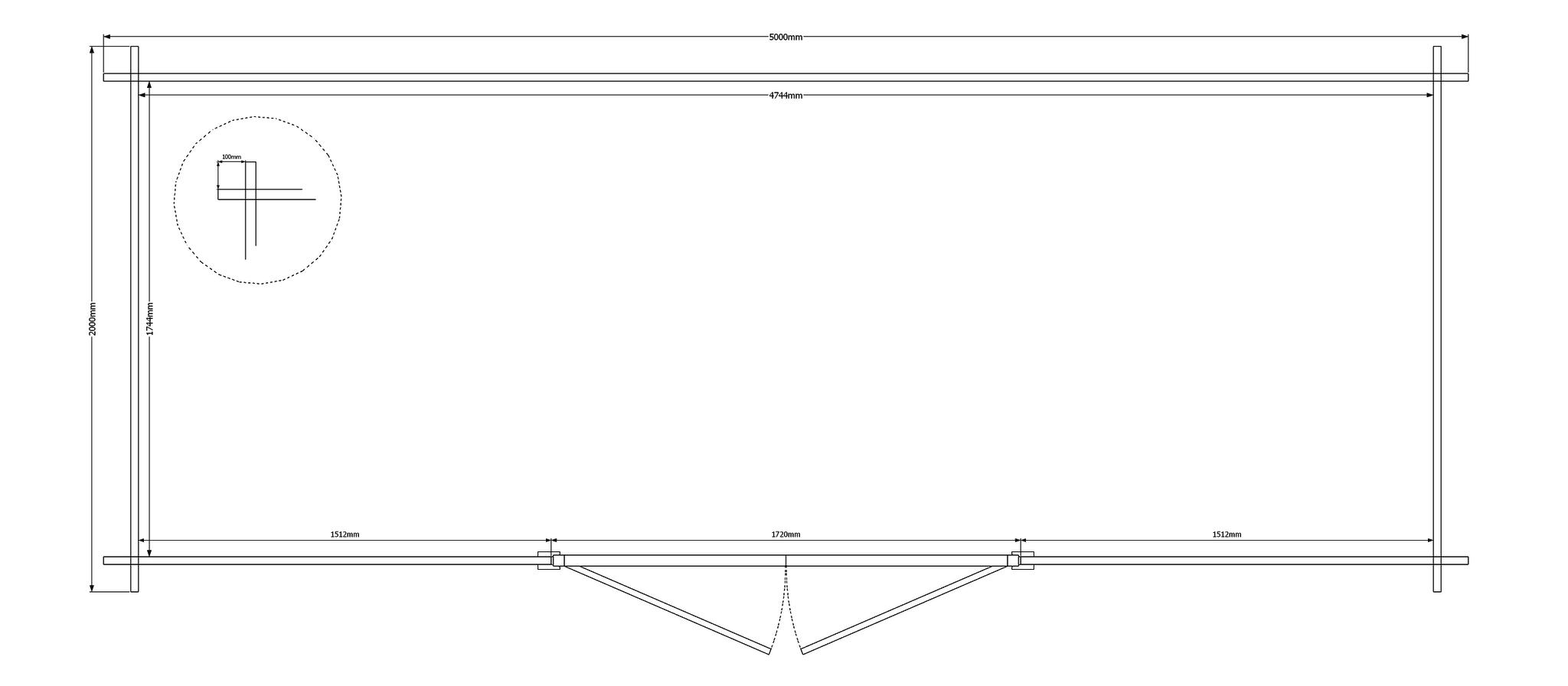 DWF Blokhut kapschuur 500 x 200cm
