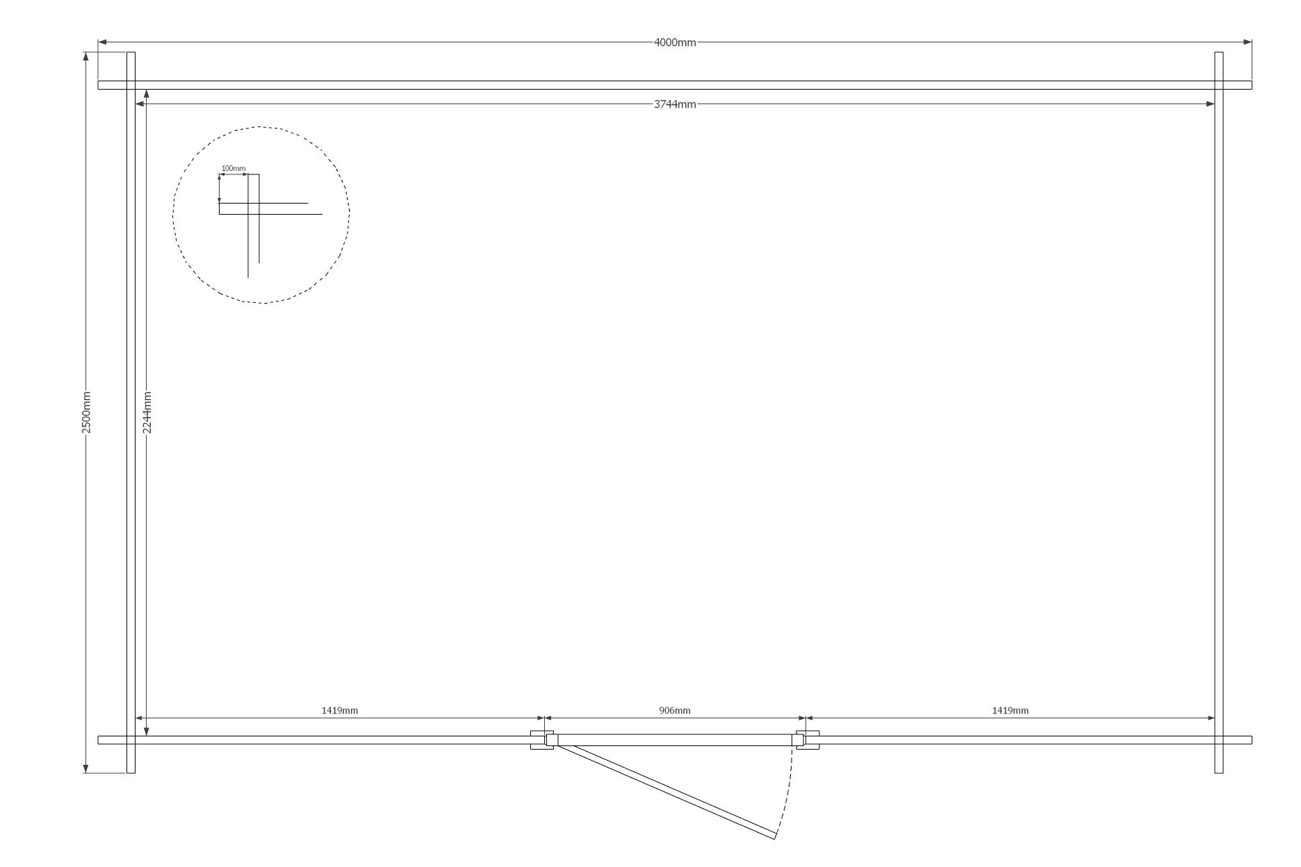 DWF Blokhut kapschuur 400 x 250cm
