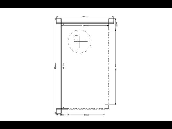 DWF Houten overkapping zadeldak 150 x 250cm