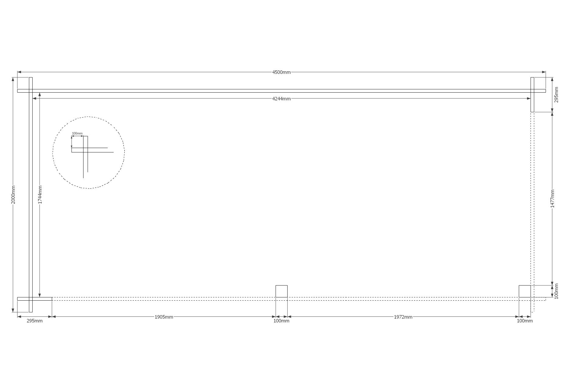 DWF Houten overkapping zadeldak 450 x 200cm