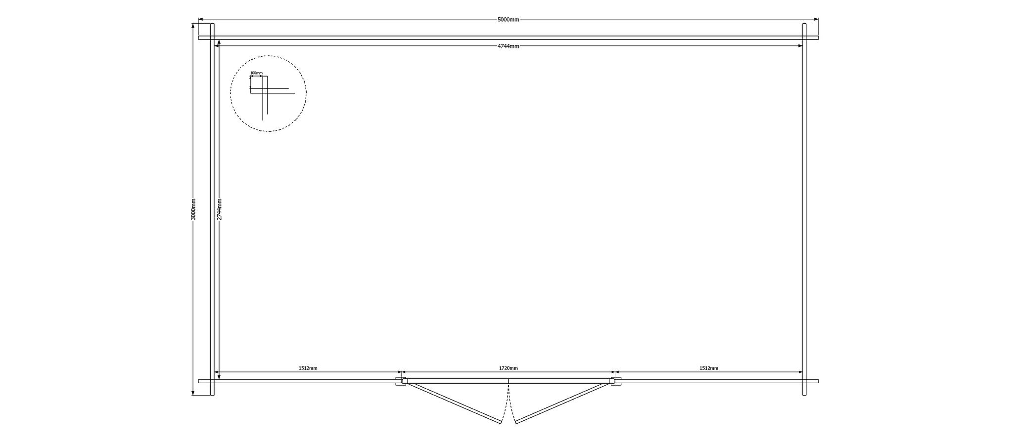 DWF Blokhut kapschuur 500 x 300cm