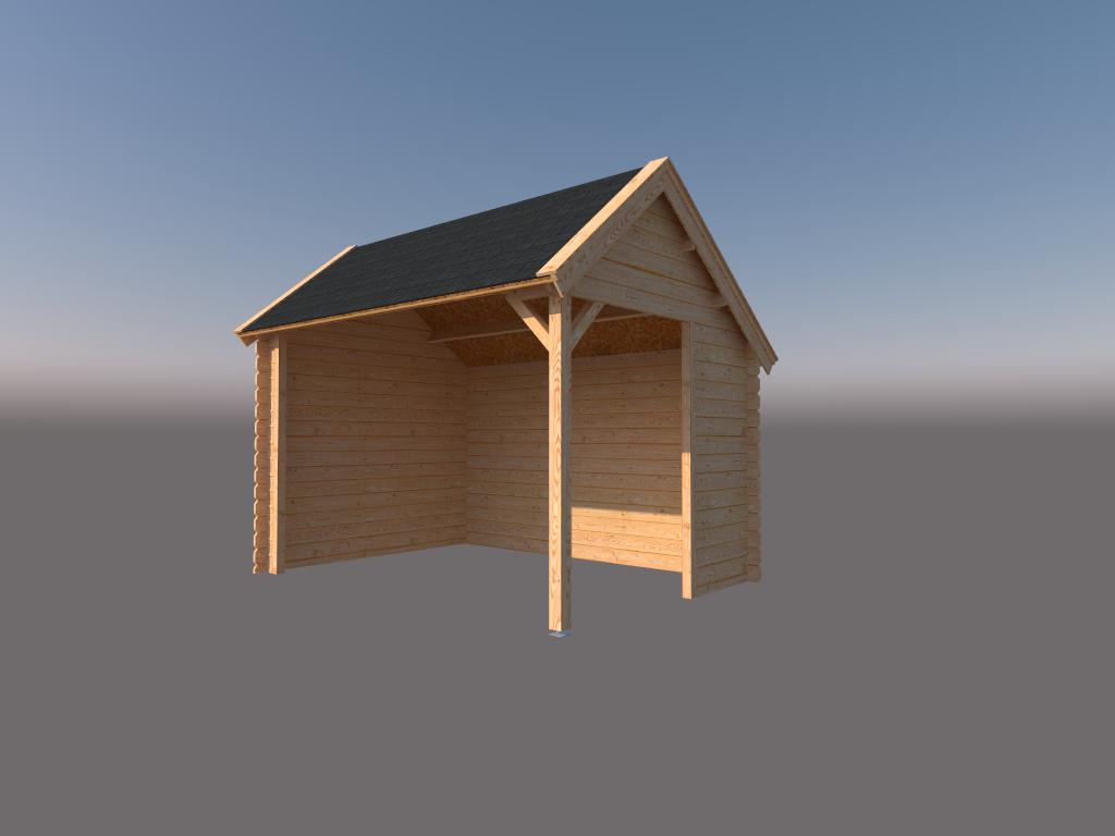 DWF Houten overkapping Kapschuur dak 350 x 250cm