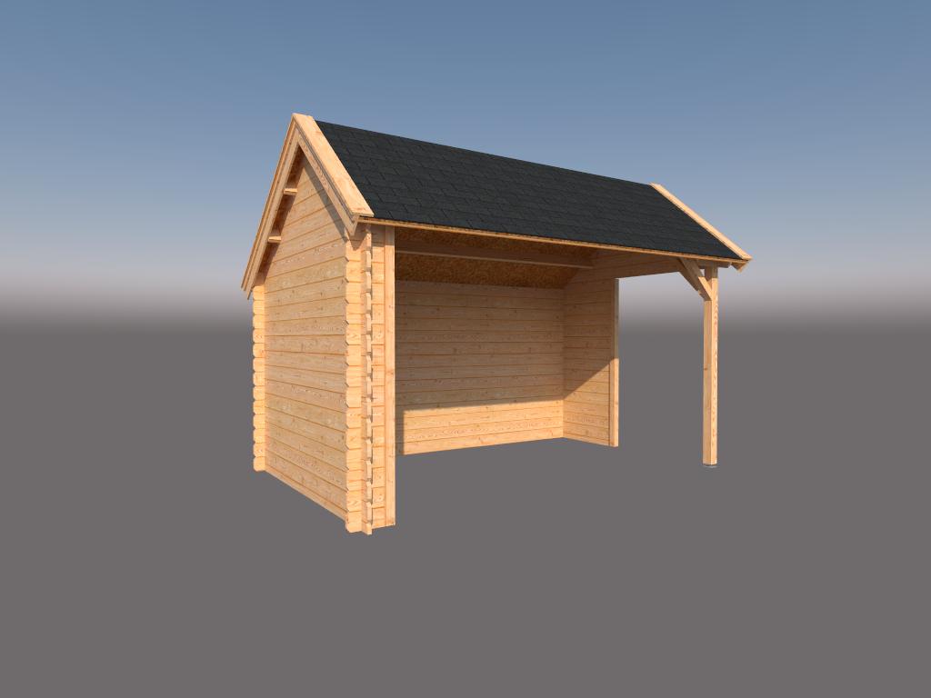 DWF Houten overkapping Kapschuur dak 400 x 250cm